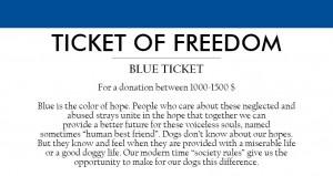 blå billett for en donasjon på 1 000 til 1 500 EUR