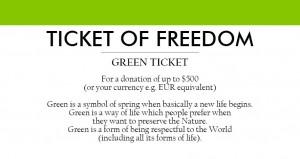 grønn billett for en donasjon på opptil 500 EUR