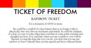 regnbue-billett for en donasjon på 3 000 EUR eller mer