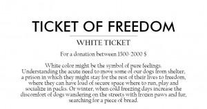 hvit billett for en donasjon på 1 500 til 2 000 EUR
