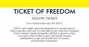 gul billett for en donasjon på 500 til 1000 EUR